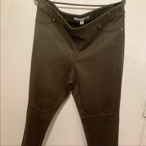 Marc New York Army Green Suede Stretch Pants Sz PL
